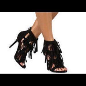 Wild Diva Black Fringe Heels